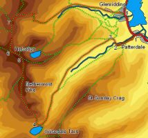 Map for walk up Helvellyn